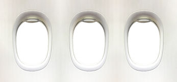 Airplane window and space for your design, 3 plane window, clipp. Ing path Royalty Free Stock Photography