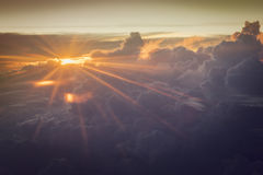 Airplane window at sunset sky royalty free stock images