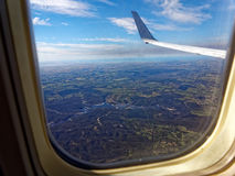 Airplane window view Australian landscape Royalty Free Stock Photography