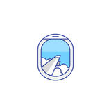 Airplane window view icon Stock Photos