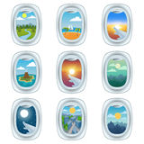 Airplane window view  illustration. Royalty Free Stock Photography