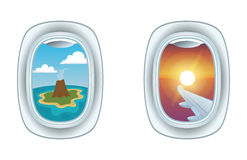 Airplane window view vector illustration. Royalty Free Stock Images
