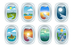 Airplane window view vector illustration. Stock Images