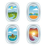 Airplane window view vector illustration. Royalty Free Stock Image