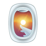Airplane window view vector illustration. Stock Photos