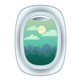 Airplane window view vector illustration. Stock Image