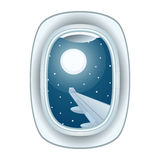 Airplane window view vector illustration. Royalty Free Stock Photography