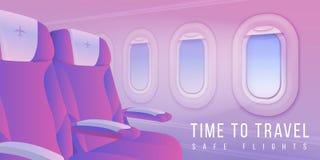 Airplane windows banner. Aircraft interior travel poster, summertime sky in plane porthole, passenger transport. Vector vector illustration