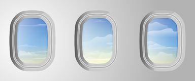 Airplane windows with cloudy blue sky outside. View from airplan stock illustration