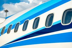 Airplane windows in passenger aircraft Royalty Free Stock Photos