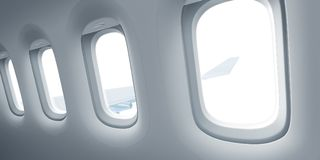 Airplane windows for view insertion with clipping path included. 3d rendering Royalty Free Stock Photos