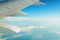 Airplane wing. Earth and airplane wing viewing from a plane royalty free stock photography