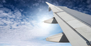 Airplane wing. And blue sky Royalty Free Stock Photography