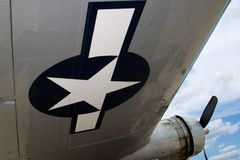 Airplane Wing. Looking down the wing of a B-17 bomber from the US Air Force Stock Photo