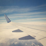 Airplane Wing. Witn retro effect royalty free stock image
