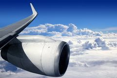 Airplane wing aircraft turbine flying Royalty Free Stock Photo