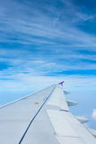 Airplane wing with beautiful sky Royalty Free Stock Photo