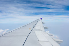 Airplane wing with beautiful sky Royalty Free Stock Photography