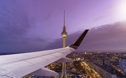 Airplane Wing Berlin Skyline Stock Images