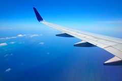 Airplane wing with blue sky. Photo of Airplane wing with blue sky stock image