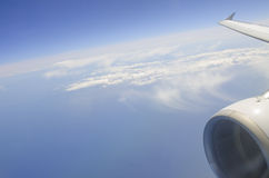 Airplane wing and egine Stock Image