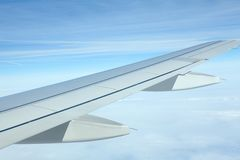 Airplane wing. During the flight stock image