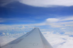 Airplane wing in flight Stock Image