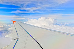 Airplane wing in flight Stock Photography