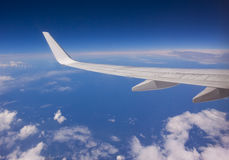 Airplane Wing in Flight Royalty Free Stock Photos
