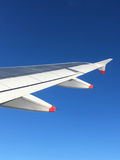 Airplane wing during the flight Royalty Free Stock Images