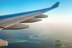 Airplane Wing In Flight Royalty Free Stock Images