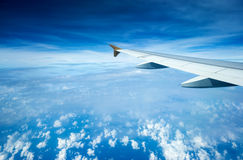 Airplane Wing In Flight Royalty Free Stock Image
