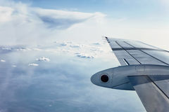 Airplane Wing in Flight Stock Images