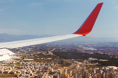 Airplane Wing in Flight from window Stock Photography