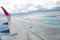 Airplane wing fly on blue sky | Trip travel business | Transportation commercial Stock Photos