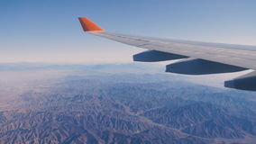 Airplane wing flying plane stock footage