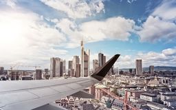 Airplane Wing Frankurt Skyline Royalty Free Stock Photos