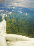 Airplane wing. Airplane wing over the mountains of Colombia Stock Image