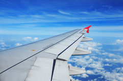 Airplane wing, passenger view Stock Images