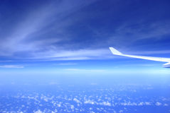 Airplane wing on sky royalty free stock photography