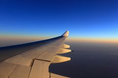 Airplane wing and sky Stock Image