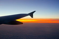 Airplane wing in the sky Stock Image
