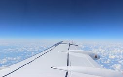 Airplane wing in the sky Royalty Free Stock Images