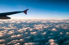 Airplane wing and sky Royalty Free Stock Image