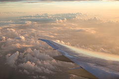 Airplane wing and sky Royalty Free Stock Photos