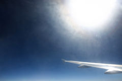 Airplane wing in sky Royalty Free Stock Image