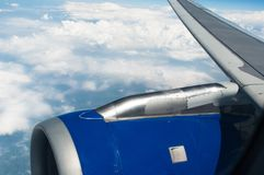 Airplane wing and turbine Royalty Free Stock Image