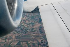 Airplane wing and turbine Stock Image