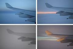 Airplane Wing Variations. A collage of the same airplane wing under different lighting and times Royalty Free Stock Image