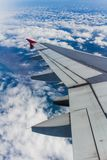 Airplane Wing View from Sky royalty free stock image